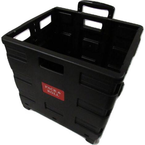"main image of ""Folding Pack & Roll Shopping Cart - Plastic Heavy Duty Trolley Car Boot Wheels"""