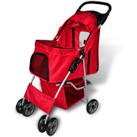 Folding Pet Stroller Dog/Cat Travel Carrier Red