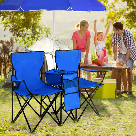 """main image of """"Folding Picnic Love Chair Outdoor Patio Leisure Seat W/ Umbrella Cup Holder &Bag"""""""