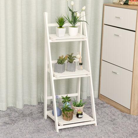 Folding Plants Stand 3 Tier Ladder Shelf Wood Bookshelf Storage Rack Home Deco 42x40x107cm White
