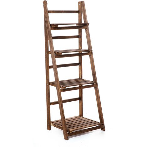 Folding Plants Stand 4 Tier Ladder Shelf Wood Bookshelf Storage Rack Home Deco 42x35x113cm Coffee