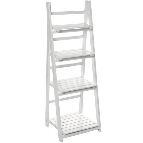 Folding Plants Stand 4 Tier Ladder Shelf Wood Bookshelf Storage Rack Home Deco 42x35x113cm White