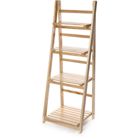 Folding Plants Stand 42x35x113cm 4 Tier Ladder Shelf Wood Bookshelf Storage Rack Home Deco