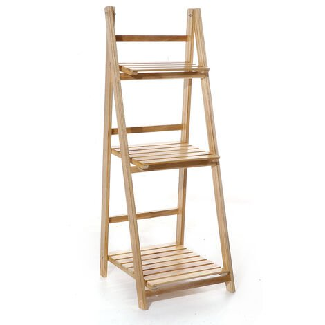 Folding Plants Stand 42x40x107cm 3 Tier Ladder Shelf Wood Bookshelf Storage Rack Home Deco