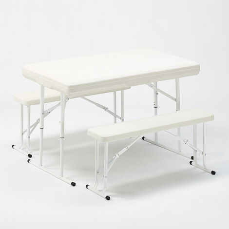 Folding plastic camping table and bench set garden parties 113x68x74 PICNIC
