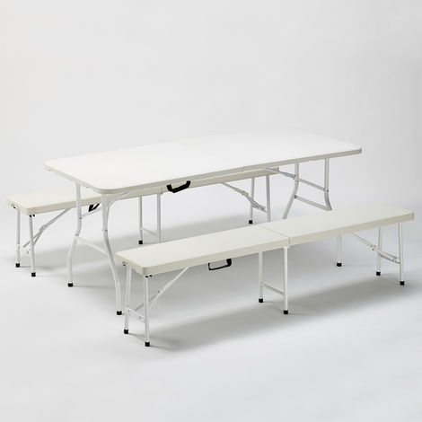 Folding plastic camping table and bench set garden parties 180x74 BAKER