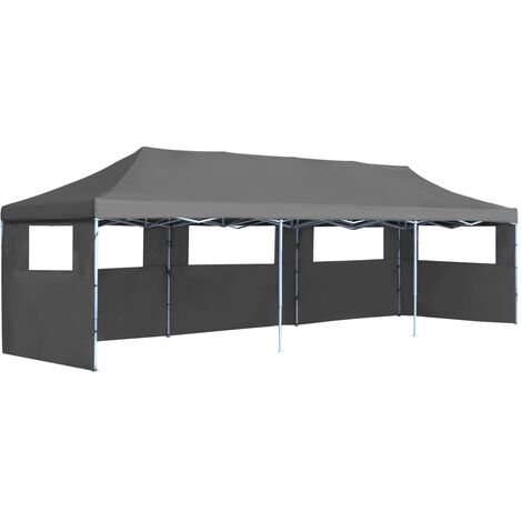 Folding Pop-up Party Tent with 5 Sidewalls 3x9 m Anthracite