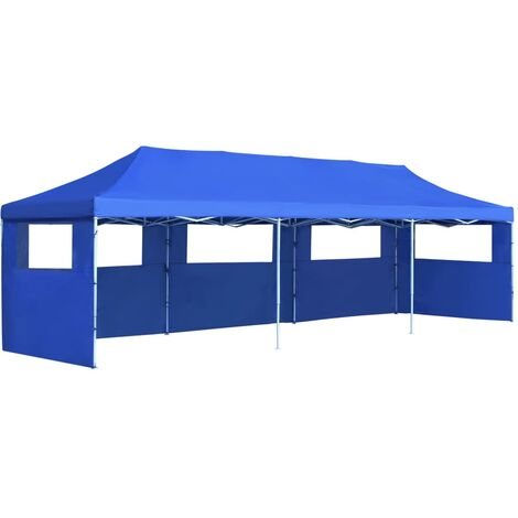 Folding Pop-up Party Tent with 5 Sidewalls 3x9 m Blue