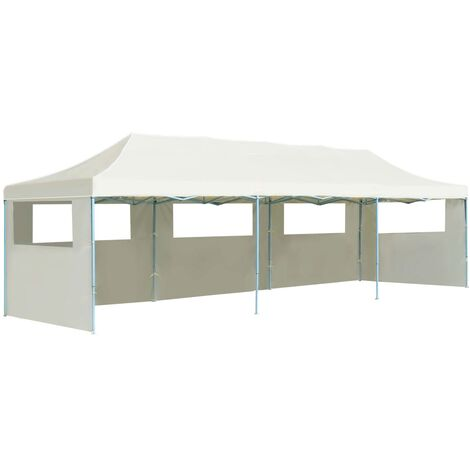 Folding Pop-up Party Tent with 5 Sidewalls 3x9 m Cream