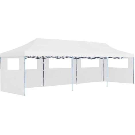 Folding Pop-up Party Tent with 5 Sidewalls 3x9 m White