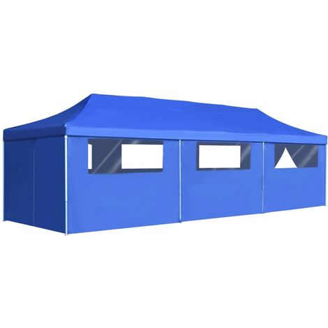 Folding Pop-up Party Tent with 8 Sidewalls 3x9 m Blue