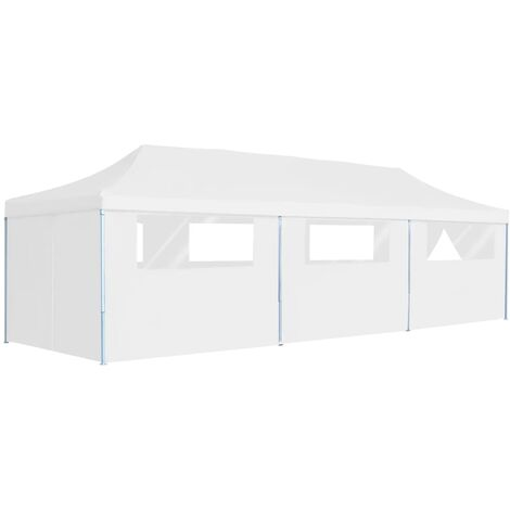 Folding Pop-up Party Tent with 8 Sidewalls 3x9 m White