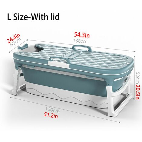 Folding Portable Bathtub Adult Kids Swimming Pool Large Freestanding Plastic Tub Bucket for Adult with Cover