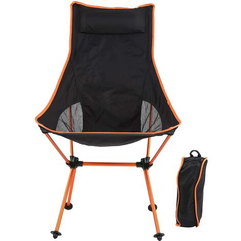 """main image of """"Folding Portable Outdoor Camping Fishing Chair, Picnic Chair, Leisure Chair, Suitable for Beach Hiking, Outdoor Picnic Garden (Orange)"""""""
