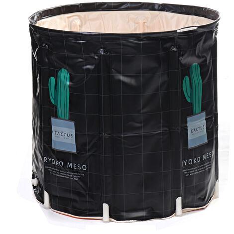 Folding PVC Bathtub Water Bath Bucket Adult Baby Inflatable Tub Room Spa Bath Barrel 70*70cm Black