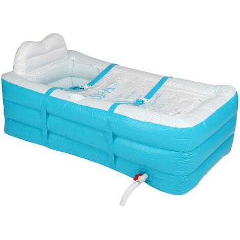 Folding PVC Inflatable SPA Bath Tub Portable 150x85x45cm Blue