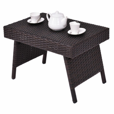 """main image of """"Folding Rattan Side Coffee Table Patio Square Garden Outdoor Furniture Brown"""""""