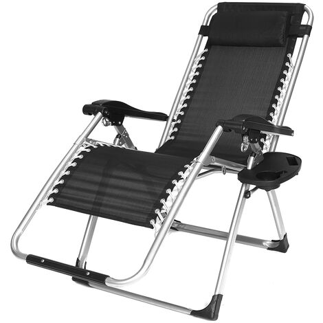 Folding Recliner Chair Beach Pool Armrest Lounge Couch Rest Armchair
