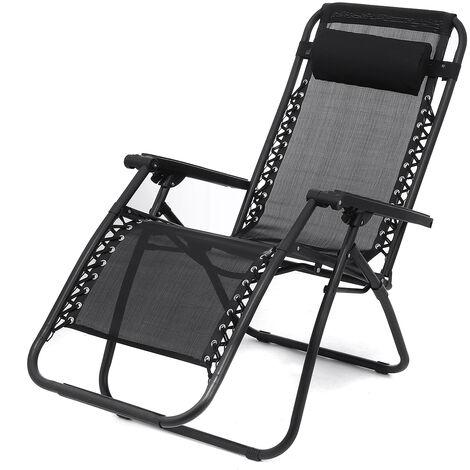 Folding Recliner Cushioned Textoline Beach Chair Sun Lounger Bed Garden Camping 54x68x92cm