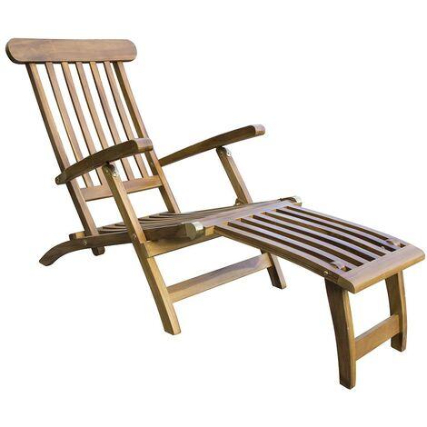 Folding Reclining Garden Patio Decking Steamer Chair / Sun Lounger with Footrest