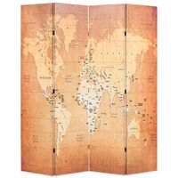 Folding Room Divider 160x170 cm World Map Yellow