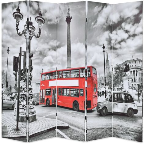 Folding Room Divider 200x170 cm London Bus Black and White