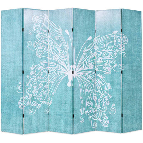 Folding Room Divider 228x170 cm Butterfly Blue