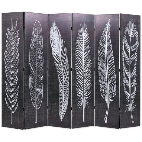 Folding Room Divider 228x170 cm Feathers Black and White