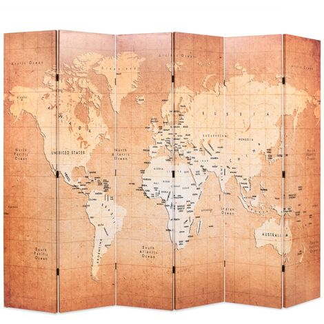 Folding Room Divider 228x170 cm World Map Yellow