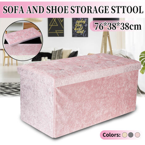 Folding Seat Stool with Crushed Velvet Ottoman Storage Box, Blush (Pink)