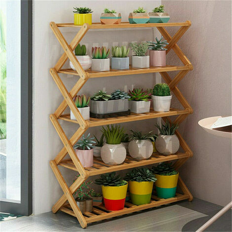 Folding Shoe Rack Bamboo Wooden Shelf Stand Storage Organizer Plant Pots Display - different size available