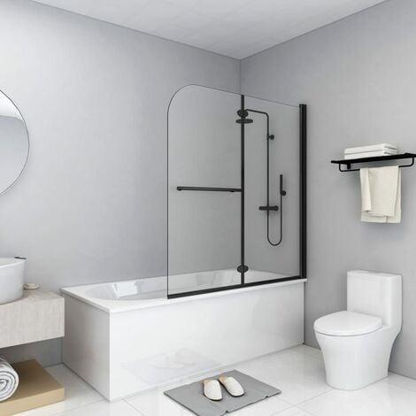 Folding Shower Enclosure 2 Panels ESG 120x140 cm Black