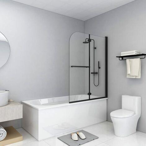 Folding Shower Enclosure 2 Panels ESG 95x140 cm Black