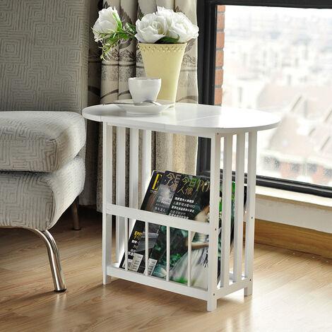 Folding Side End Table Wooden Magazine Rack Storage Shelf,2 Tier