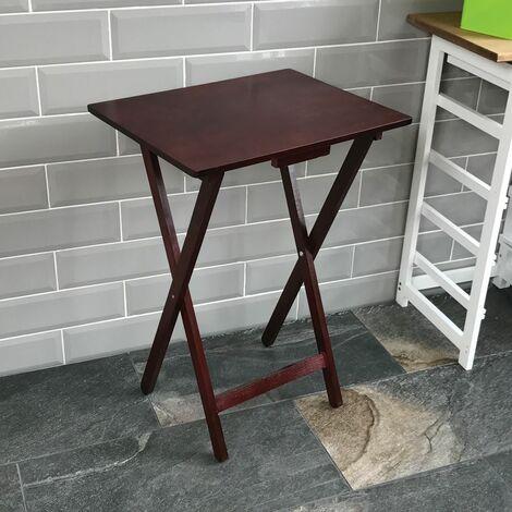 Folding Snack Table, Mahogany