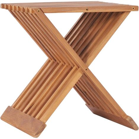 Folding Stool 40x32x45 cm Solid Teak Wood