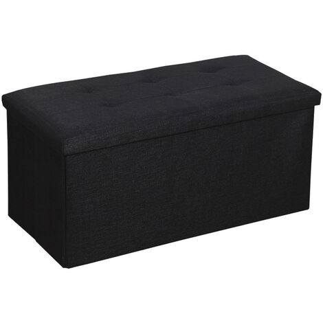 Folding Storage Bench Ottoman Hoome Bedroom Footstools Seat multifunctional foldable(Black 76x38x38cm)