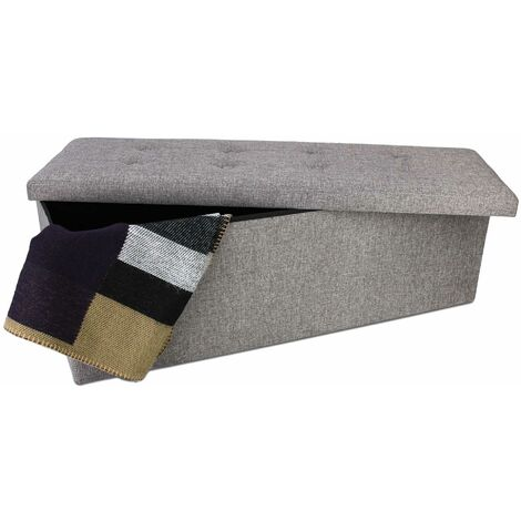 Folding Storage Ottoman, Leather look folding Bench, 110 x 38 x 38 cm (43.3 x 15 x 15 inch), Grey, Fabric tufted finish, Material: Non-woven fabric, MDF