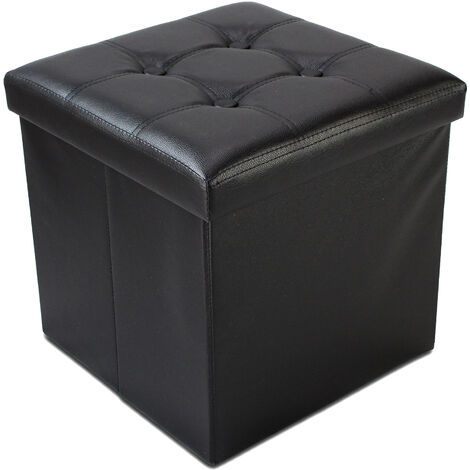 Folding Storage Ottoman, Leather look folding Bench, 38 x 38 x 38 cm (15 x 15 x 15 inch), Black, Stitched and tufted finish, Maximum load: 330 lbs