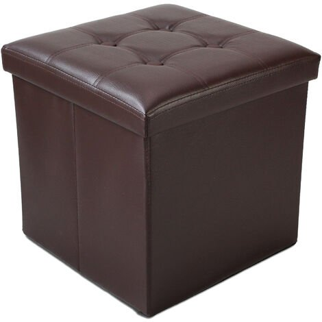 Folding Storage Ottoman, Leather look folding Bench, 38 x 38 x 38 cm (15 x 15 x 15 inch), Brown, Stitched and tufted finish, Maximum load: 330 lbs