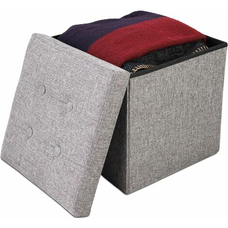 Folding Storage Ottoman, Leather look folding Bench, 38 x 38 x 38 cm (15 x 15 x 15 inch), Grey, Fabric tufted finish, Material: Non-woven fabric, MDF