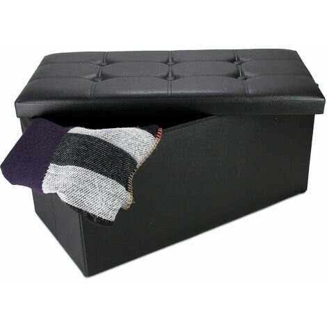 Folding Storage Ottoman, Leather look folding Bench, 76 x 38 x 38 cm (29.9 x 15 x 15 inch), Black, Stitched and tufted finish, Maximum load: 330 lbs