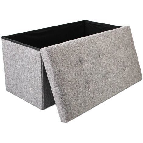 Folding Storage Ottoman, Leather look folding Bench, 76 x 38 x 38 cm (29.9 x 15 x 15 inch), Grey, Fabric tufted finish, Material: MDF, Non-woven fabric