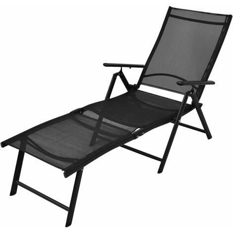Folding Sun Lounger Aluminium Black