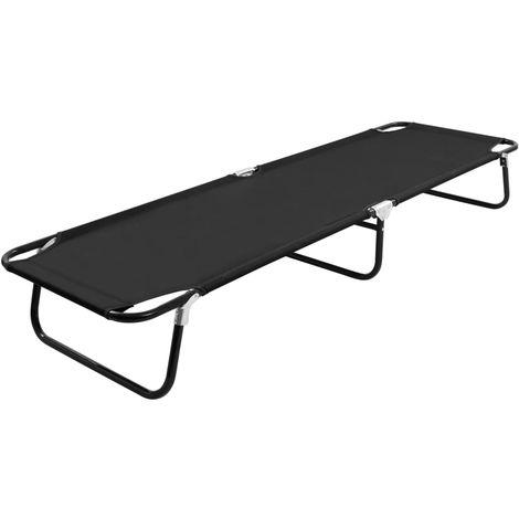 Folding Sun Lounger Black Steel