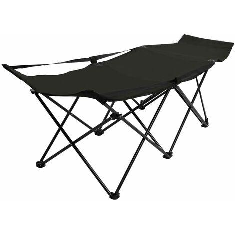 Folding Sun Lounger Black Steel - Black