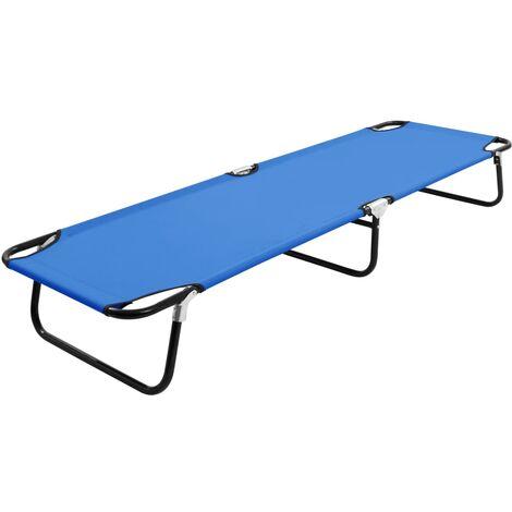 Folding Sun Lounger Blue Steel - Blue