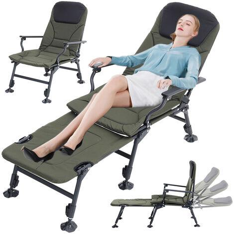 Folding Sun Lounger Fishing Camping Outdoor Garden Recliner Bed Footrest Chair