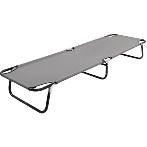 Folding Sun Lounger Grey Steel - Grey