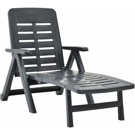 Folding Sun Lounger Plastic Anthracite - Anthracite